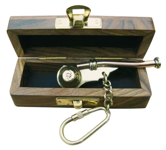 Keyring - whistle bosco brass-copper and functional - with wooden box - marine style - marine decora