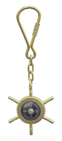 Keychain - Compass-wheel brass bar and functional - marine style - marine decoration
