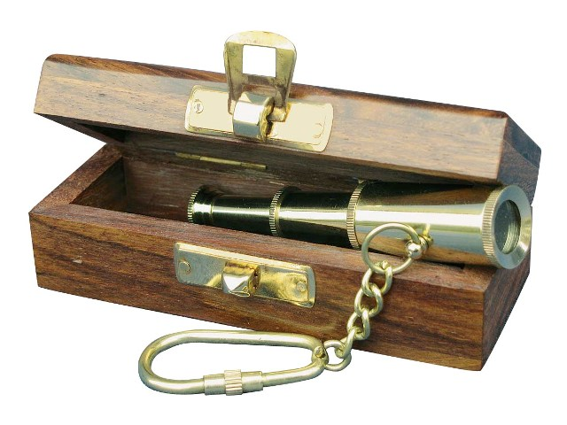 Keychain - Telescope with case - Brass and functional - marine style - marine decoration