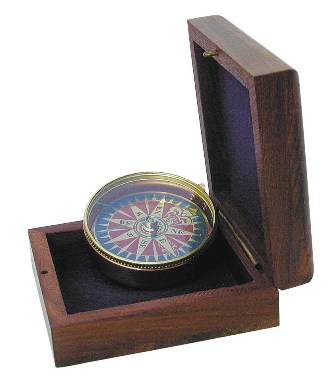 Compass rose compass with wooden box - marine style - marine decoration