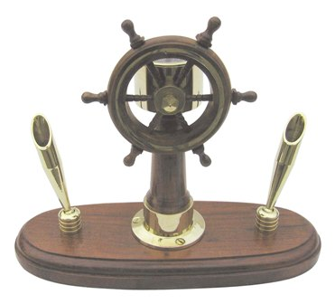 Post-navigation pen holder - wooden base - functional compass - marine style - marine decoration