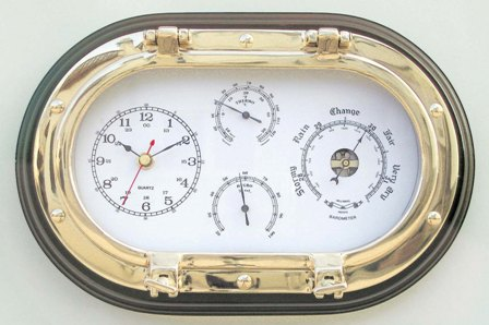 Clock - Barometer - Thermometer and hygrometer - oval porthole brass wood - marine style - marine de