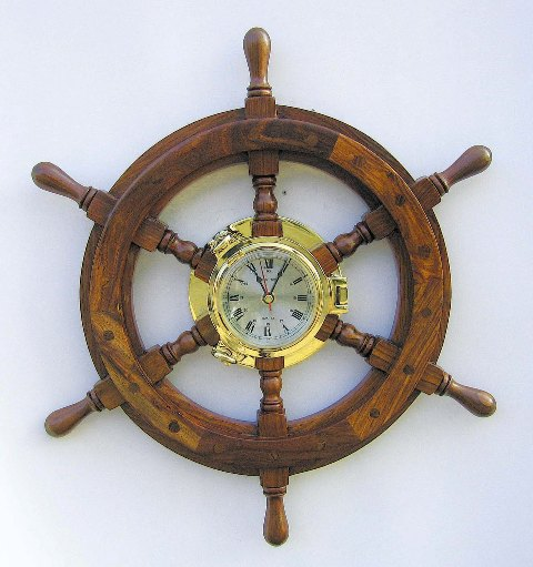 Clock bar wood-brass impeller - quartz movement - marine style - marine decoration