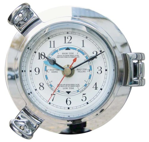 Tide clock-Hublot - Chrome - quartz movement - marine style - marine decoration