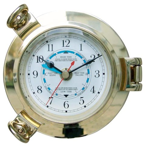 Tide clock-brass porthole - quartz movement - marine style - marine decoration