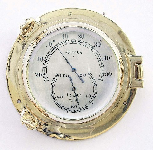 Thermometer and hygrometer brass porthole - marine style - marine decoration