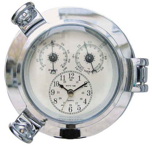 Hublot Clock - Thermometer and hygrometer - Chrome - quartz movement - marine style - marine decorat