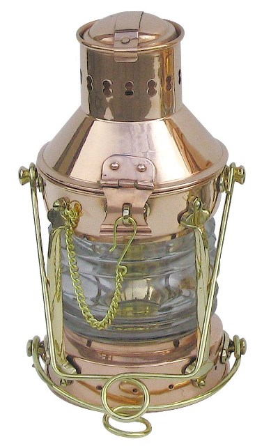 Copper and brass oil lamp Anchor - marine style - marine decoration
