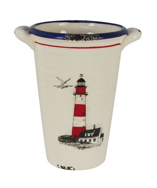High pot with handles - Lighthouse - marine style - marine decoration