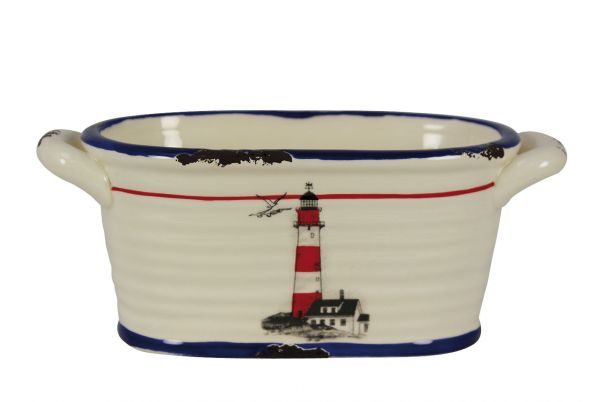 Oval stoneware glaze pattern with Lighthouse - marine style - marine decoration