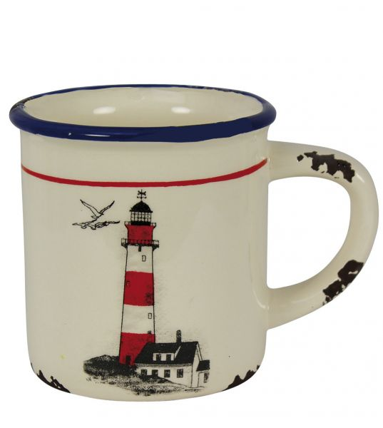 Cup with handle pattern and Lighthouse - marine style - marine decoration