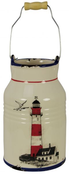 can - milk jug with Lighthouse grounds - marine style - marine decoration