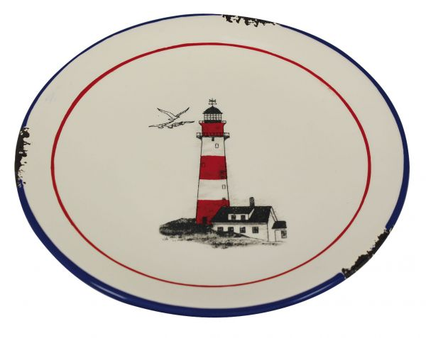 Plate with Lighthouse grounds - marine style - marine decoration