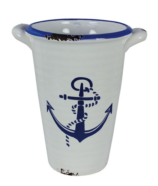 High pot / cup glaze stoneware - Lighthouse grounds and inlets - marine style - marine decoration