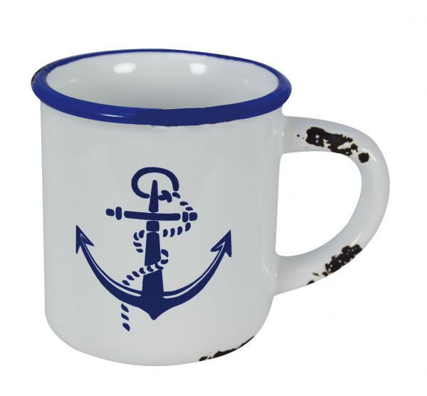 Cup with handles with marine anchor motif - marine style - marine decoration