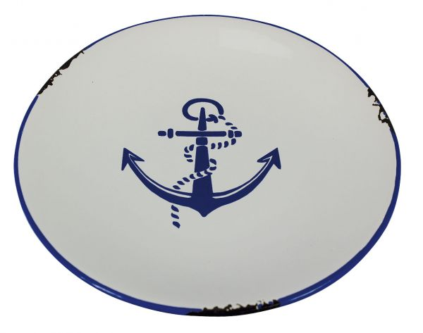 Plate with marine anchor motif - marine style - marine decoration