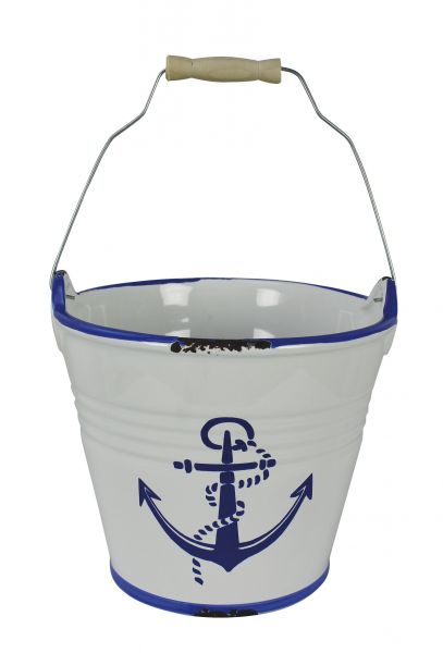 Bucket with sea anchor motif - marine style - marine decoration