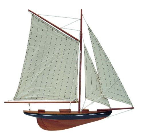 Wooden sailing yacht - half shell - sewn sails - marine style - marine decoration