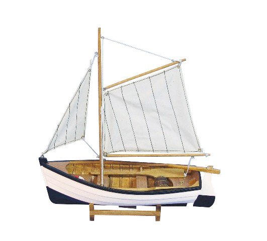 Wooden fishing boat - sewn sails - marine style - marine decoration