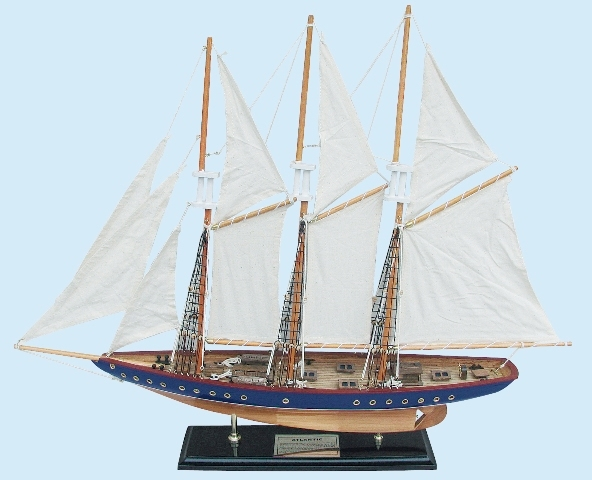 Wooden sailboat with sewn sail and brass plate - marine style - marine decoration