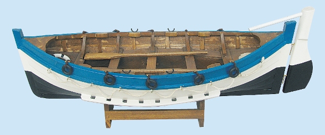 Wooden rowing fishing boat - marine style - marine decoration