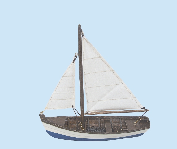 Wooden fishing boat sailing sewn - marine style - marine decoration