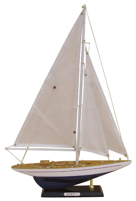 Sailing yacht - Wooden ENTERPRISE - sewn sails - marine style - marine decoration