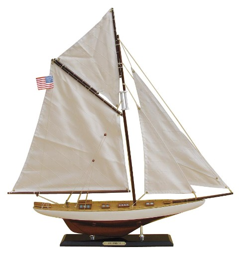 Sailing yacht - Wooden COLUMBIA - sewn sails - marine style - marine decoration