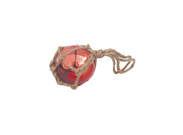 Fishing float - red - glass with thread - marine style - marine decoration