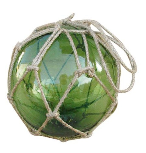 Fishing float - green - glass with thread - marine style - marine decoration
