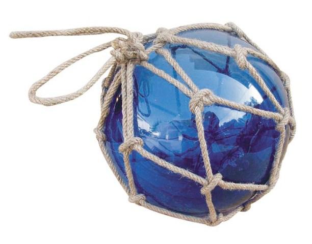 Flotteur de p che bleu verre avec filet d coration - Filet peche deco ...