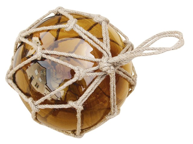Fishing float - amber - glass with thread - marine style - marine decoration