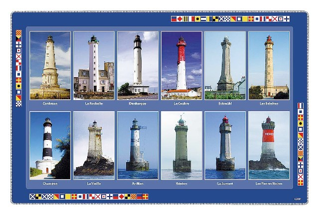 Placemat - French lighthouses - Plastic - marine style - marine decoration