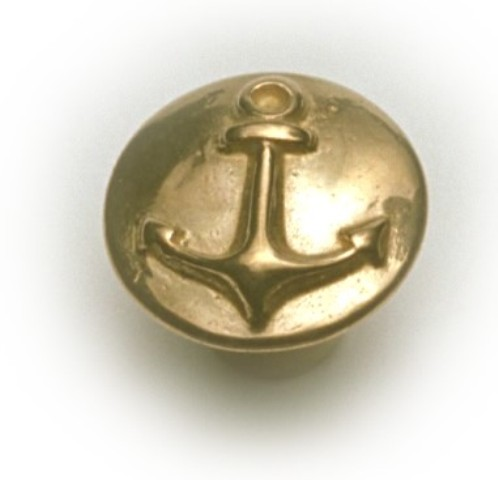 Button - ANCHOR - Polished Brass - marine accessories - marine decoration