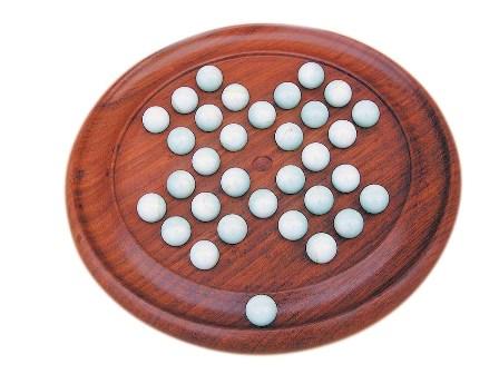 Jeu - Solitaire en bois  - boules en marbre - décoration marine  - Jeux de société marins & Jeux de cartes
