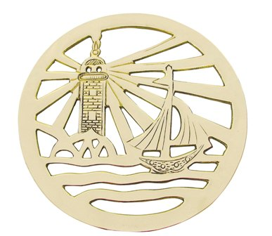 Trivet - Phare and Brass Sailboat - marine style - marine decoration