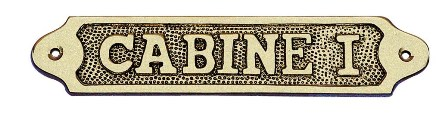 Door sign - I CABIN brass - marine style - marine decoration