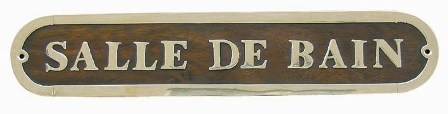 Door plate - BATHROOM wood-brass - marine style - marine decoration