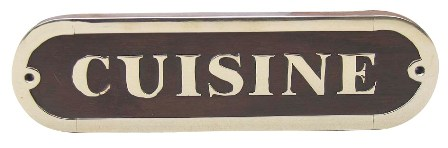 Door plate - KITCHEN wood-brass - marine style - marine decoration