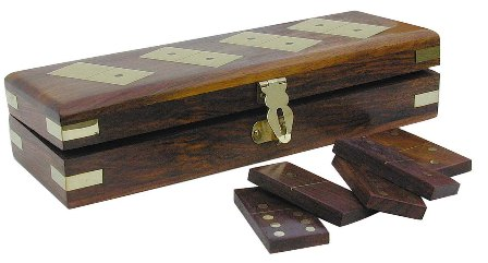 Playing dominoes wood brass - 28 pieces - marine style - marine decoration