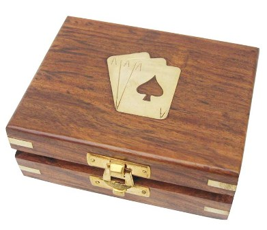 Box 'card game' - 1 wood brass game - marine style - marine decoration
