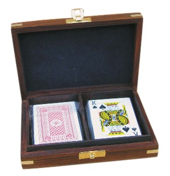 Box 'card game' - 2 sets of cards - wood brass - marine style - marine decoration