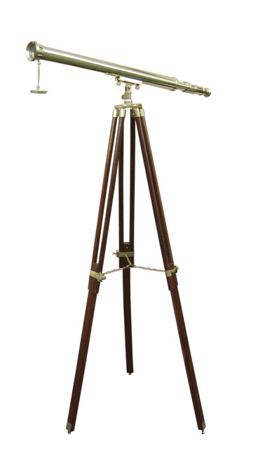 Telescope on brass-wooden support - marine style - marine decoration