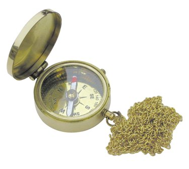 Pocket compass with brass WITH Chainette box - marine style - marine decoration