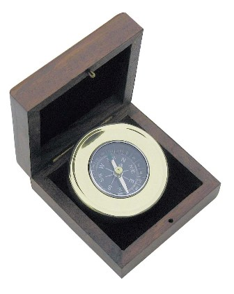 Brass compass and wooden box - marine style - marine decoration