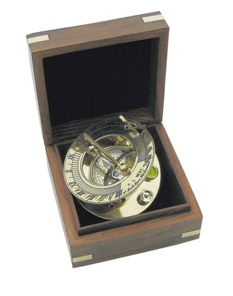 Compass Dial sun and brass wooden box - marine style - marine decoration