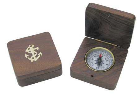 Compass in a wooden box - marine style - marine decoration