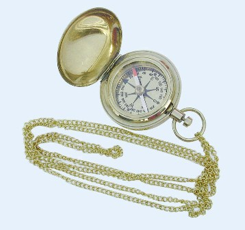 Compass and brass link - marine style - marine decoration