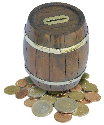 Piggy Bank - wood brass barrel - marine style - marine decoration
