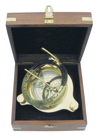 Sundial with brass wooden box - marine style - marine decoration